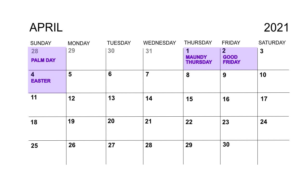 Calendar, April 2021