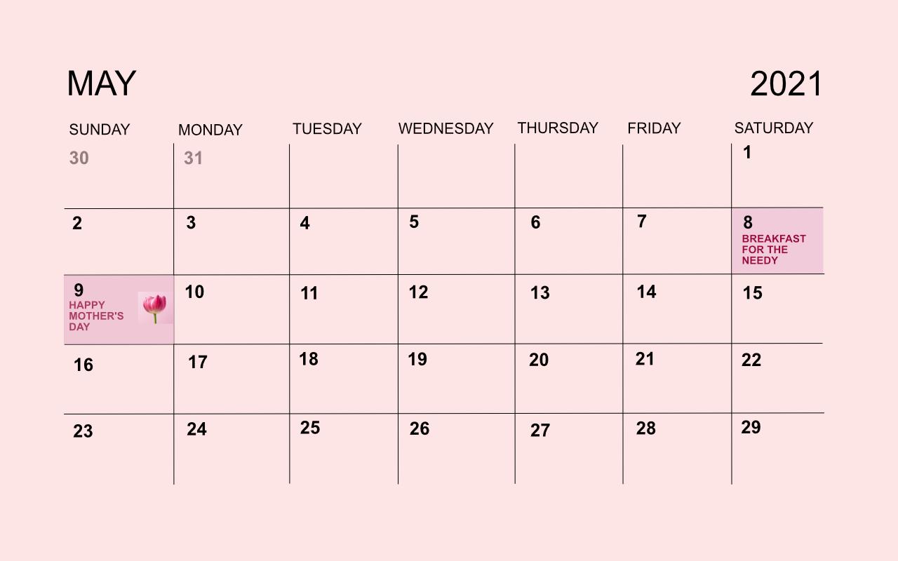 Calendar, May 2021